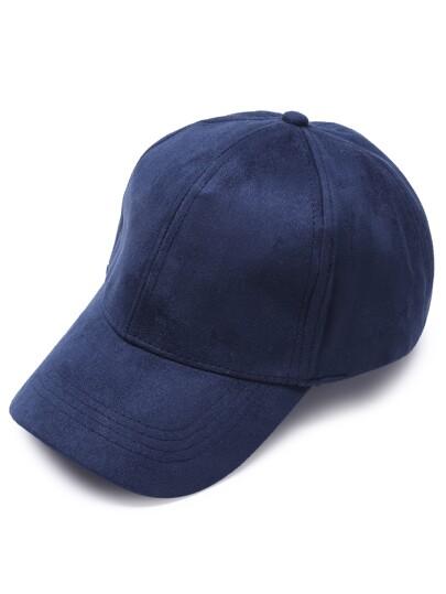 Navy Suede Casual Baseball Cap