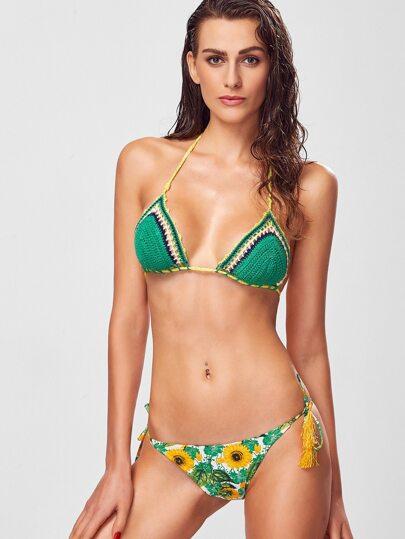 Green Sunflower Print Fringe Bikini Set With Knit Top