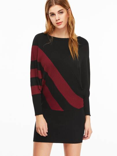 Black Striped Boat Neck Batwing Sleeve Bodycon Dress