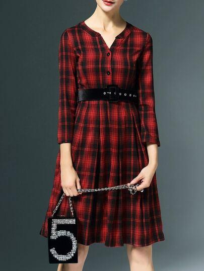 Red V Neck Belted Plaid A-Line Dress