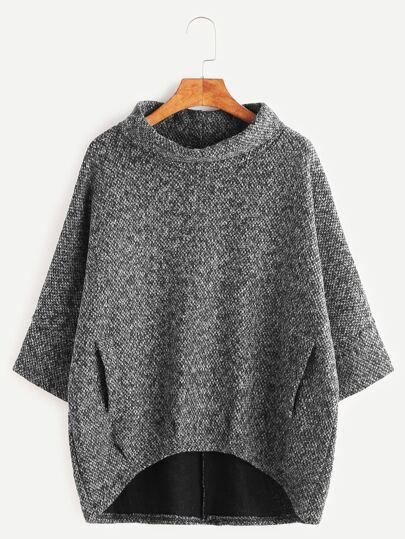 Grey Turtleneck Dip Hem Pockets Sweatshirt