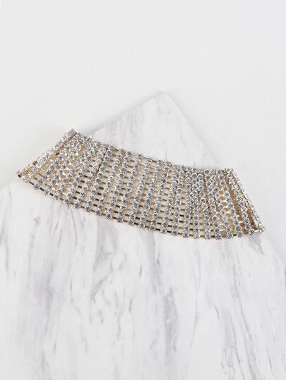 Metallic Rhinestone Choker Necklace GOLD