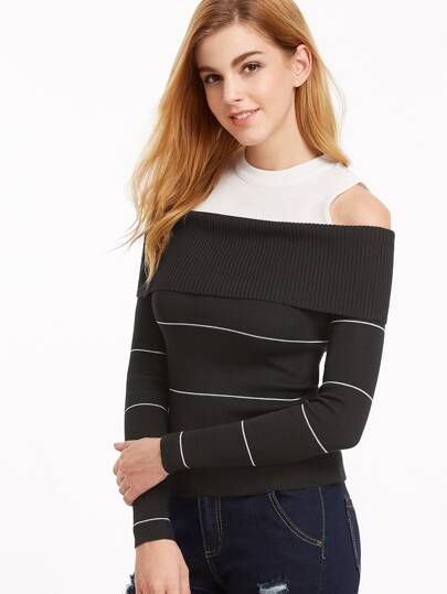 Contrast Open Shoulder Foldover Striped Jersey Sweater