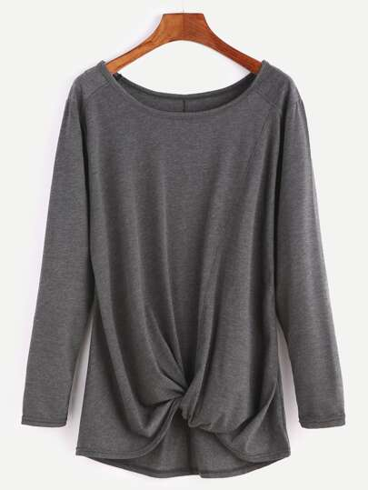 Dark Grey Long Sleeve Twisted Front T-shirt