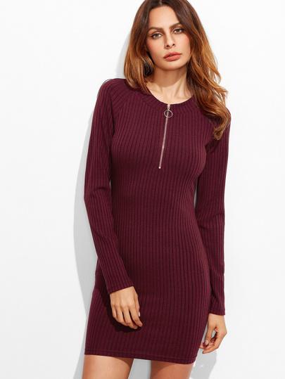 Burgundy Zip Neck Raglan Sleeve Ribbed Knit Bodycon Dress