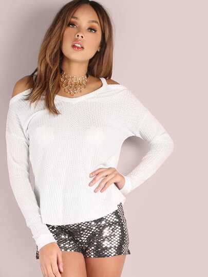 White Waffle Knit Cold Shoulder Dolman Sleeve T-shirt