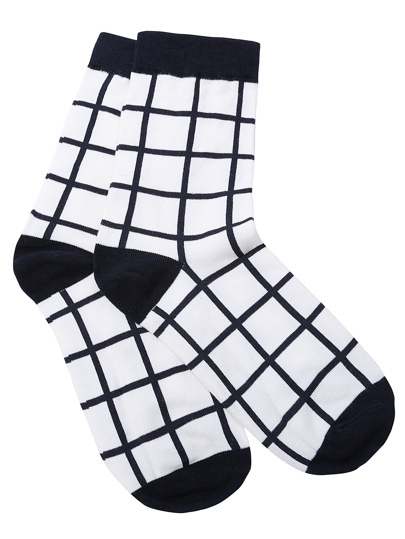 Black and White Grid Pattern Crew Sock