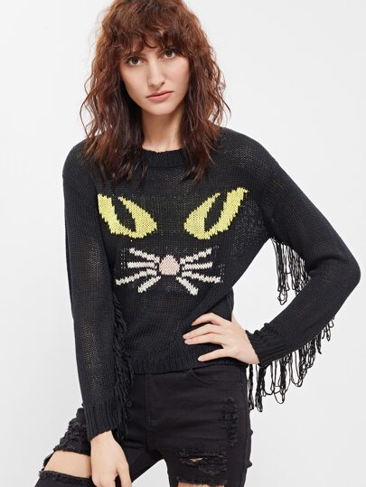 Black Fringe Trim Cat Pattern Sweater