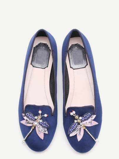 Blue Rhinestone And Beaded Dragonfly Embellished Flats