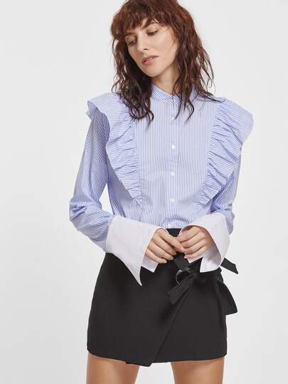Blue And White Striped Contrast Cuff Ruffle Blouse