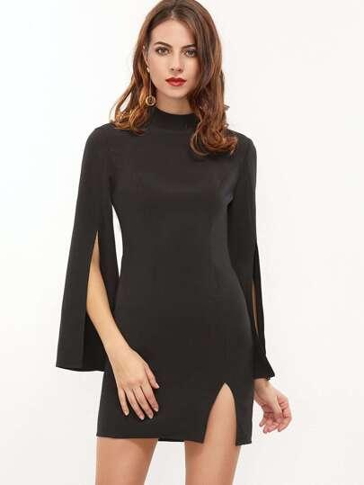 Black Mock Neck Split Bell Sleeve And Hem Bodycon Dress