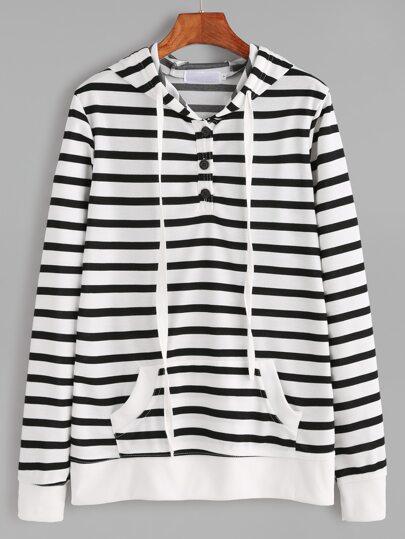 Contrast Striped Hooded Button Pocket Sweatshirt