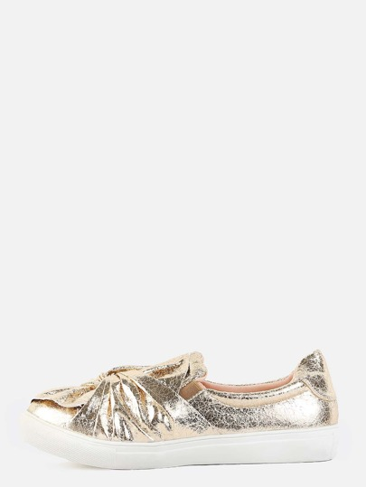 Metallic Cinched Bow Sneakers GOLD