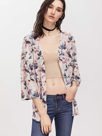 Multicolor Flower Print 3/4 Sleeve Kimono