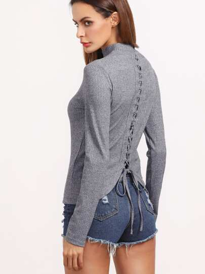Heather Grey Ribbed Knit Lace Up Back T-shirt