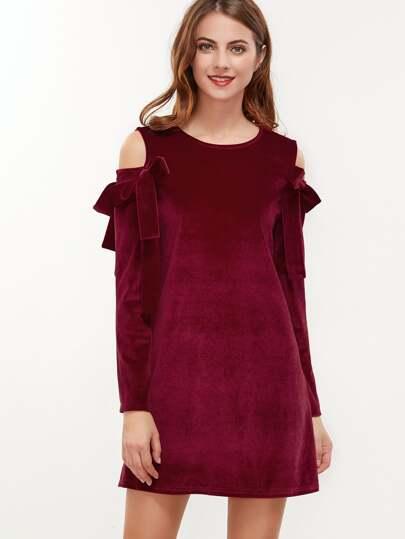 Burgundy Bow Tie Open Shoulder Velvet Dress