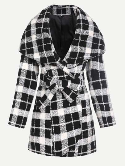 Black And White Plaid Drape Collar Wrap Coat