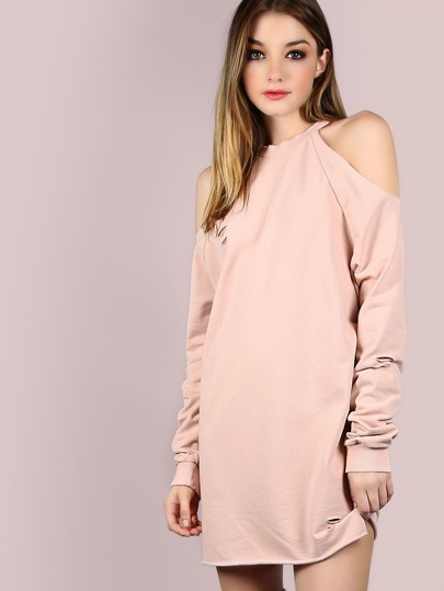 Raw Cut Sleeved Cold Shoulder Tunic Dress PINK