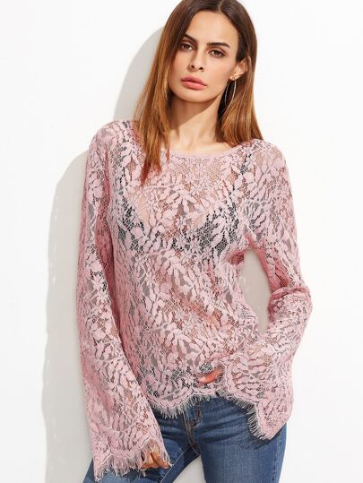 Pink Bell Sleeve Sheer Floral Lace Top