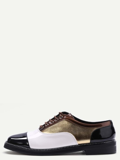 Sparkly Patchwork Leather Cap Toe Oxfords