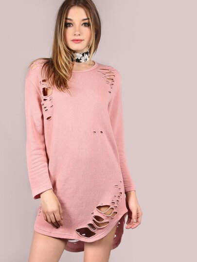 Grungy Curved Hem Tunic Dress DUSTY PINK