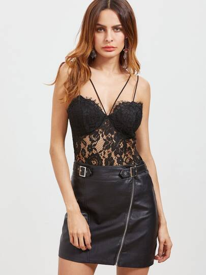 Floral Lace Overlay Strappy Bustier Bodysuit