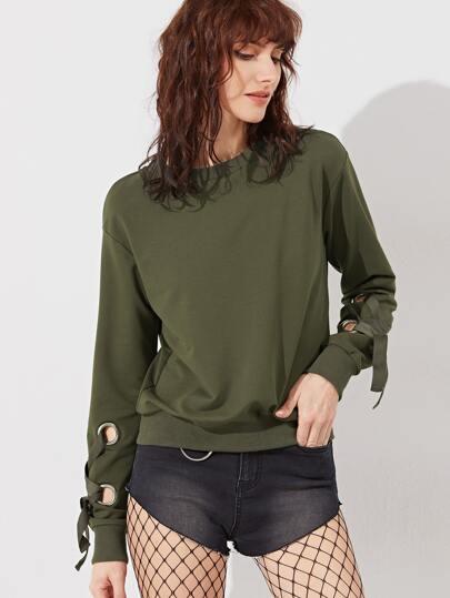 Olive Green Drop Shoulder Eyelet Lace Up Sleeve Sweatshirt