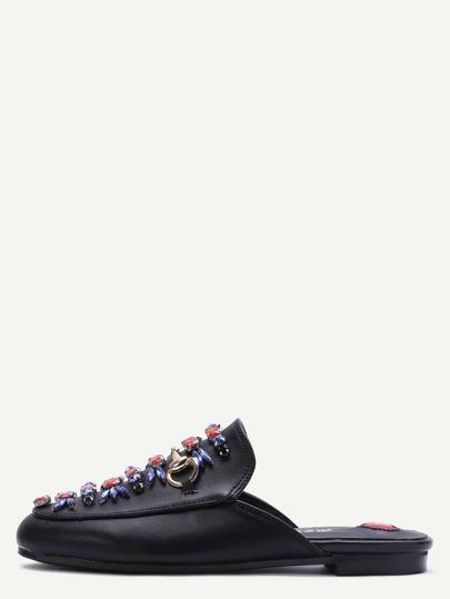 Pantofole Loafer Di Ecopelle Abbellite - Nero