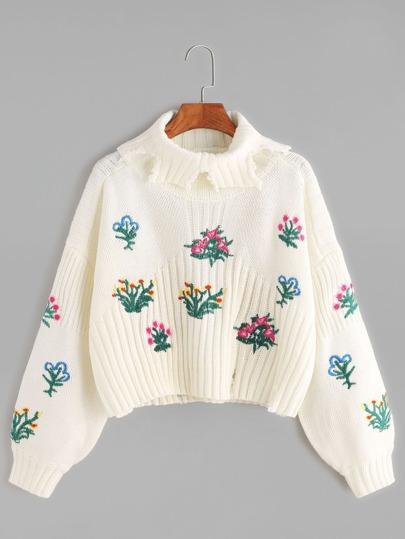 Beige Drop Shoulder Flower Embroidered Frayed Sweater