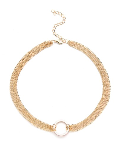 Gold Plated Round Charm Layered Link Necklace