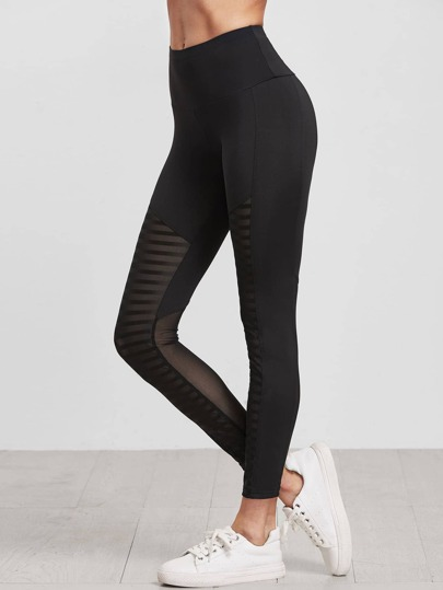 Black Wide Waistband Striped Mesh Insert Leggings