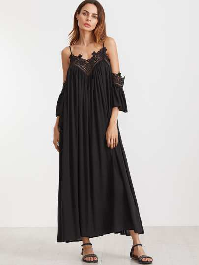 Black Cold Shoulder Pleated Lace Trim Dress