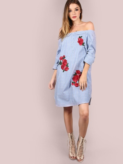 Sleeved Off The Shoulder Patched Stripe Dress LIGHT BLUE