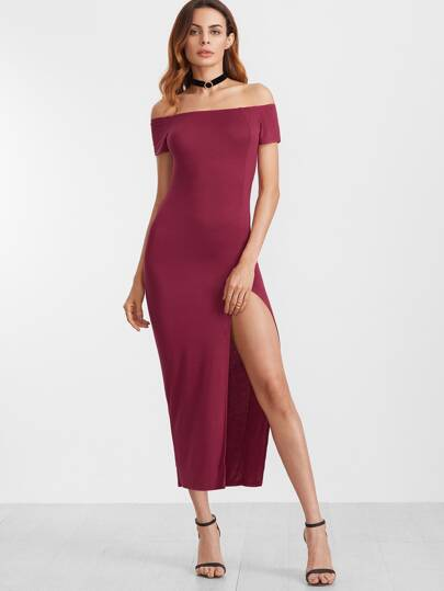 Off The Shoulder Cut Out Back Split Thigh Dress