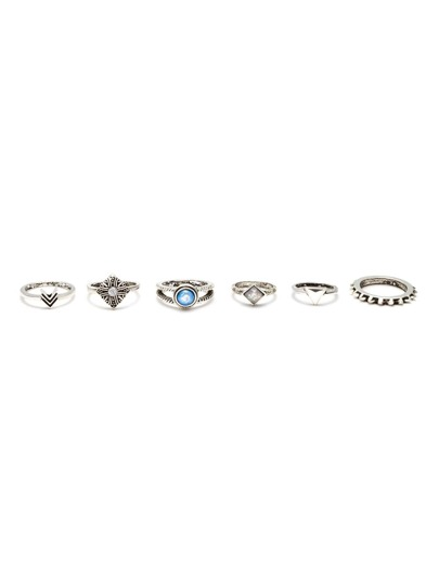 Antique Silver Multi Modelling Carved Ring Set