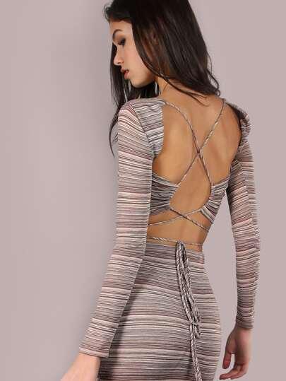 Backless Stripe Lurex Crop Top BROWN