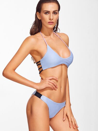 Blue Ladder Cutout Halter Bikini Set