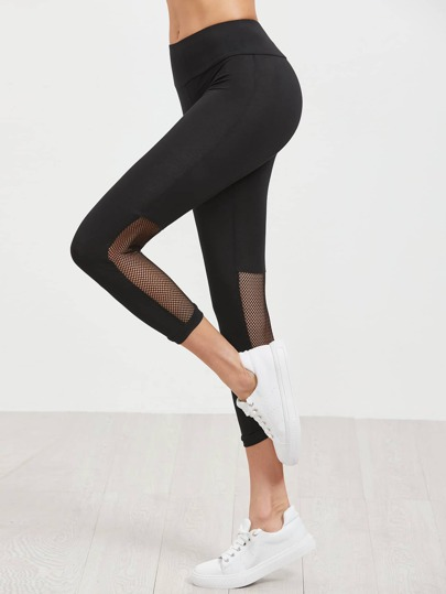 Black Wide Waistband Mesh Panel Crop Leggings