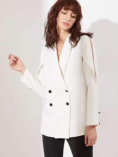White Fold Split Shoulder Double Breasted Blazer