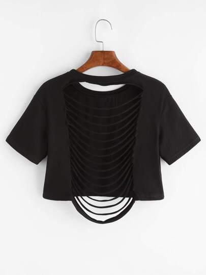 Black Letter Print Ripped Back Crop T-shirt