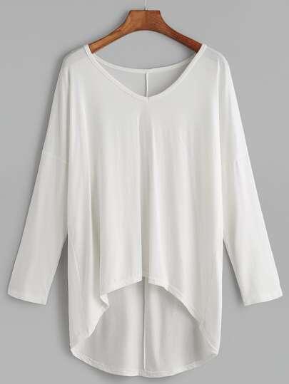 White V Neck Drop Shoulder Dip Hem T-shirt