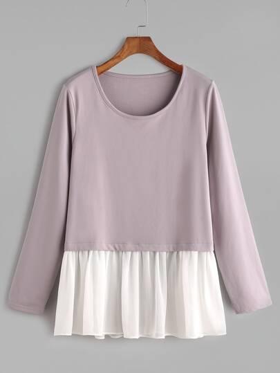 T-Shirt Con Orlo Increspato - Violetto Contrasto