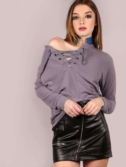 Soft Lace Up Sweatshirt LAVENDER