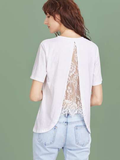 White Lace Insert Split Back T-shirt