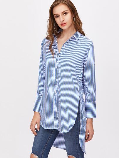 Blusa asimétrica con abertura lateral de rayas - azul