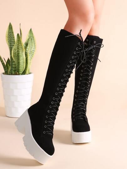 Bottes de genou en suede avec zip sur côté à fond plat -noir
