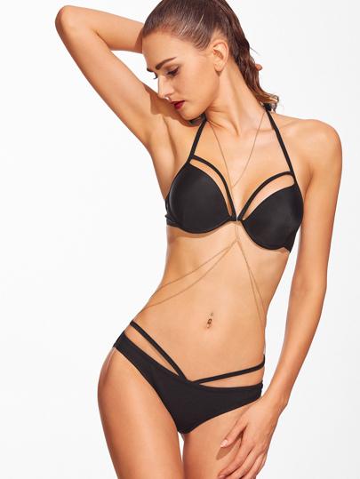 Black Cutout Halter Bikini Set