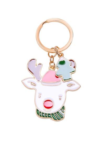 Gold Tone Cute Reindeer Charm Keychain