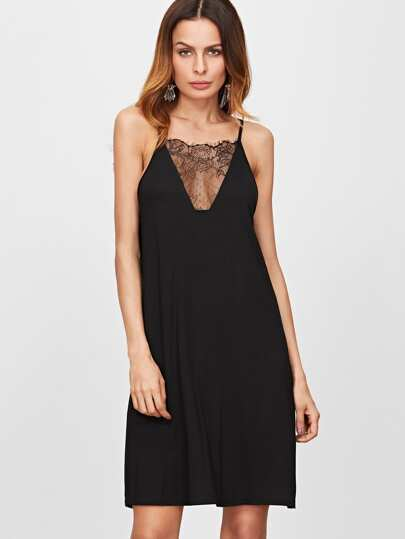 Black Floral Lace V Neck Swing Cami Dress