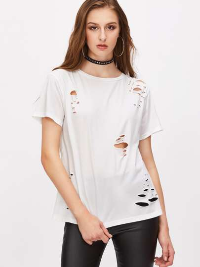 White Distressed Short Sleeve T-shirt